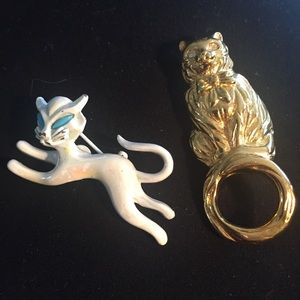 Vintage Cat brooches- gold kitten and white kitten